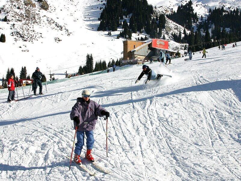 Ski Parallel Along Groomed Black Run