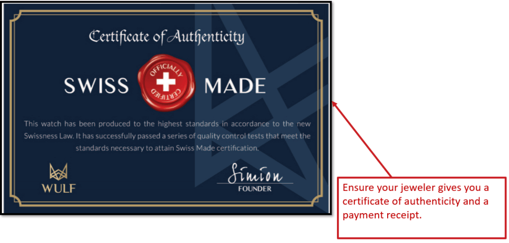 Swiss Certificate