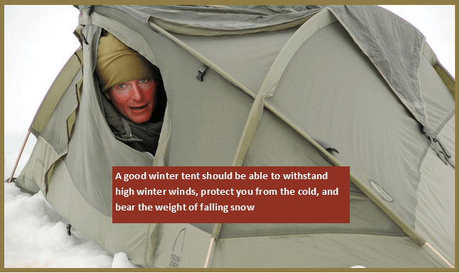 Winter tent with high winter wind